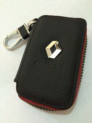 Renault Leather Key Cover Case Holder Ring Chain Fob !