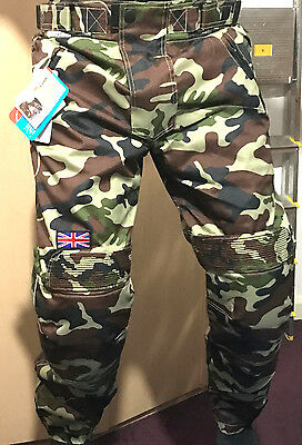 KYB BRITISH Camo Thermal Waterproof Motorbike Motorcycle Trouser CE Armour Pants