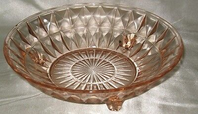 Jeannette Windsor Diamond Pink 3 Footed Dish