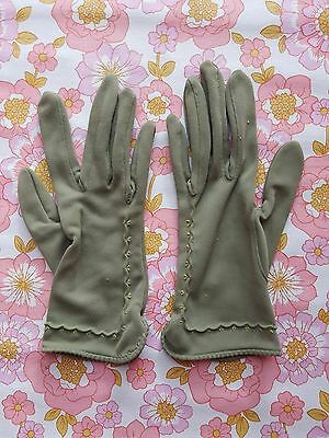 Vintage GLOVES evening 1960s 1950s ladies accessory Size 6.5 retro pair of GREEN