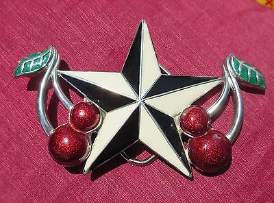Vintage Enamel Star & Cherry Belt Buckle in Silver Tone