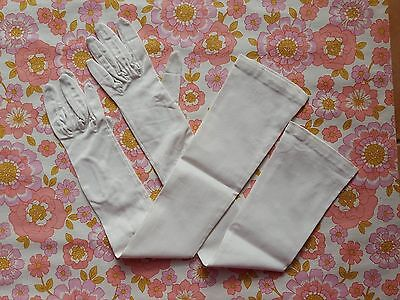 Vintage GLOVES evening 1960s 1950s ladies accessory pair of long white DENTS