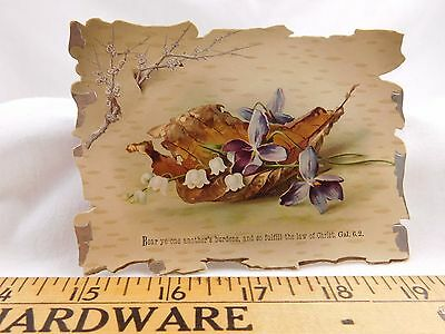Victorian Die-Cut Trade Card Metallic Ink Fall Violets Lilly-of-the Valley F25