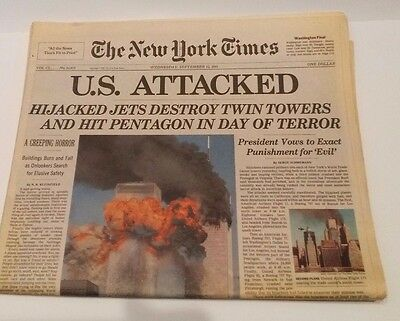 New York Times U.S. Attacked 9-11 September 12, 2001 Mint Shipped Flat