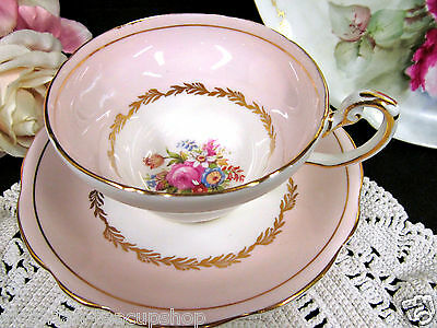 Foley Tea Cup And Saucer Pink And Floral Pattern Teacup Wide Mouth