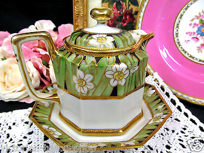 Nippon Hand Painted Maple Syrup Holder With Underplate Floral