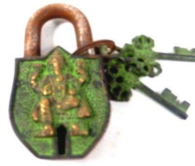Ganesha Old Vintage Antique Style Handmade Brass Lock & Iron PadLock With Key b9