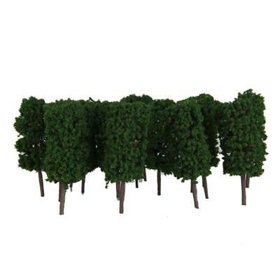 50x Dark Green Cylinder Tree Model Train Railroad Layout Park Scenery 1:300