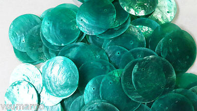 """50 Round Capiz Shell Discs 1.5"""" Green Tosca - Two Holes"""