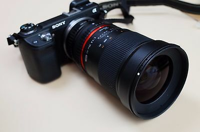 Samyang 35mm f/1.4 UMC Lens adapted to Sony E mount