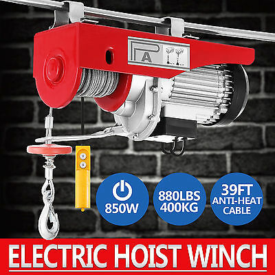 Electric Hoist Winch 400KG 240V Cable Lift Tool Remote Chain Lifting Rope Auto