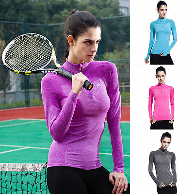 High Elastic Women Tights Shirts Gym Fitness Jogging Exercise Long Sleeve Tops