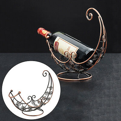 Vintage Moon Boat Shaped Wine Bottle Holder Metal Sculpture Home Decor Wine Rack