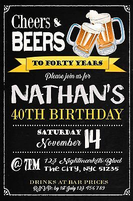 18th 21st 30th 40th 50th 60th Invitation BEERS CHEERS Birthday Party Invite Age