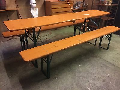 German Beer Fest Table & Benches Heavy Duty Vintage Garden Industrial Dinning