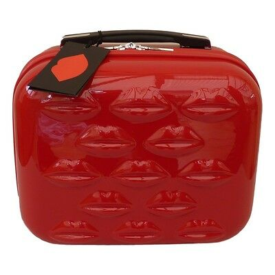 Lulu Guinness Bright  Red Lips Hard Shell Vanity Case / Beauty Case -  NEW