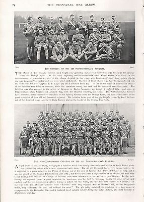 1900 ANTIQUE PRINT-BOER WAR- OFFICERS & NCOs OF 1st NORTHUMBERLAND FUSILIERS