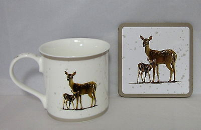 Deer with Fawn Mug and Coaster ~ Woodland Wildlife Animal Set by Macneil