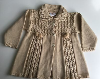 Baby cardigan jumper mustard vintage style new no tag knitted 6 months boy girl