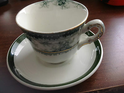 5 X Royal SMALL Vitreous English demitasse cup/saucer white&green with gold trim