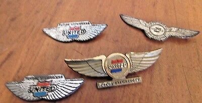 """Lot Of 4 Vintage Antique United Airlines """" Future Stewardess """" Pin"""