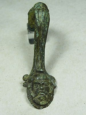 ANCIENT HANDLE DIONYSUS HEAD BRONZE GREEK 5th-4th BC
