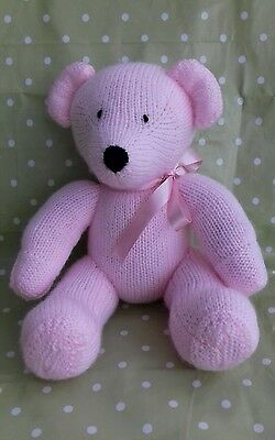 New Hand Knitted Baby Pink Teddy Bear Soft Toy