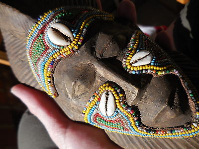 African Tribal Mask Beaded Carved Wood Shells Ethnic Decor