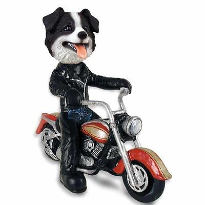 Border Collie on a Motorcycle Hand Painted Collectible Resin Figurine Statue