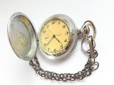 Soviet / USSR Pocket watch - MOLNIJA FULL HUNTER - FLOWERS 18 JEWELS Cal 3602