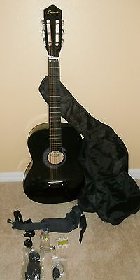"Crescent Black MG38-BK 38"" Acoustic Guitar With Extras"