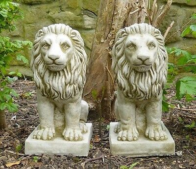 PAIR Small Proud Lion Pillar Caps Bespoke Hand Cast Stone Garden Ornament Statue
