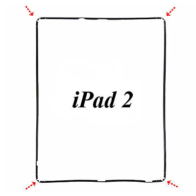 Apple iPad 2 Digitizer Middle Frame Bezel With Adhesive - Black
