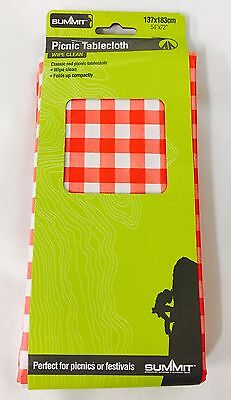 Picnic Tablecloth Table Cloth Red White Check Traditional PVC Wipe Clean Camping