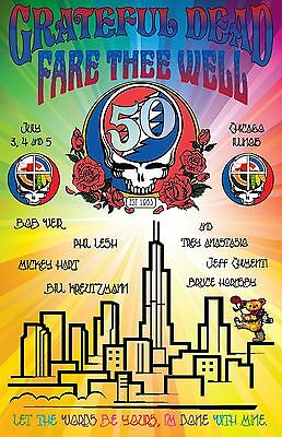 Grateful Dead Fare Thee Well Concert Poster Chicago July 3/4/5 2015