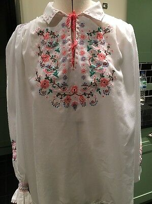 VINTAGE HUNGARIAN BLOUSE HAND EMBROIDERED FOLK HIPPY TOP FESTIVAL 70s UK 16-18