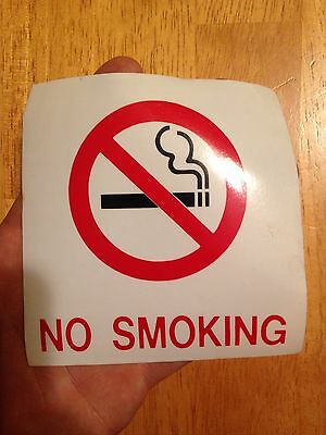 No Smoking Window Decal Sticker Vinyl, 4 X 4 Inches - Quantity of 2 labels