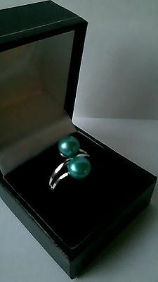 Qvc Honora Sterling Silver & Teal Pearl , By Pass Ring . Size M.