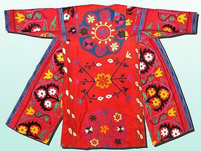 Vintage Gorgeous Uzbek Fully Silk Hand Embroidered Robe Chapan A9151