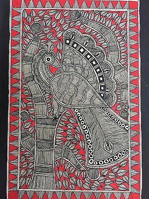 Original Madhubani Painting on Handmade Paper Indian Folk Art