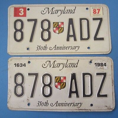 1987 Maryland License Plates matched pair 350th anniversary style