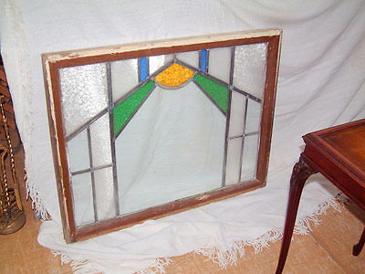 """Leaded Glass Antique Window, Large Hand Made Gorgeous 36"""" X 28 Salvage Windows"""
