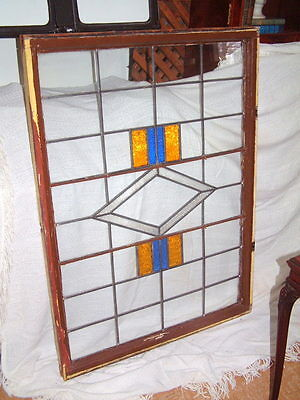 """Leaded Glass Antique Window, Large Hand Made Gorgeous 47"""" X 34"""" Salvage Windows"""