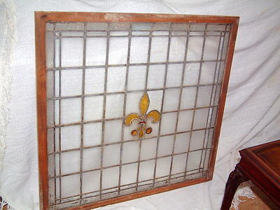 "Leaded Glass Antique Window, Large Hand Made Gorgeous 36 1/2"" X 38 1/2"""