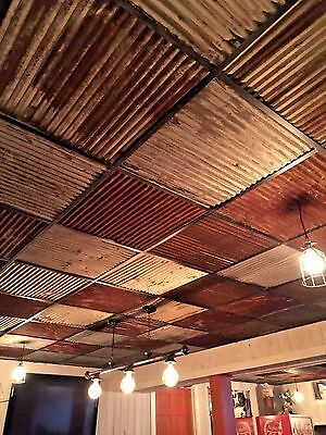 "< 10 pcs 23 7/8"" x 23 7/8"" RECLAIMED TIN ROOFING CORRUGATED PANELS/DROP CEILING"