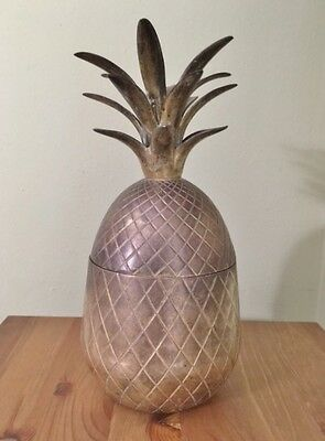 "vintage solid Brass PINEAPPLE Box / Candle Holder  Hollywood Regency 9.5"" tall"