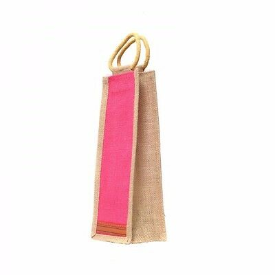 100% Jute Natural / Rust Bamboo Accents Wine Bottle Bags Inside Laminated New