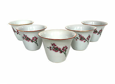 CHINESE Plum Blossom Porcelain Tea Wine Cup Bowl Hand Painted (x5)