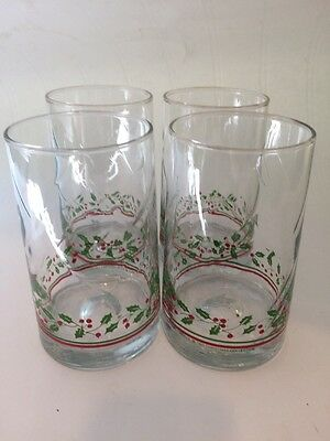 1983 Arby's Christmas Collection Tumbler Water Glasses Holly Berry