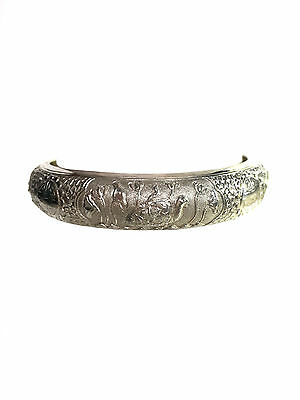 CHINESE Silver Bangle Bracelet Dragon Phoenix Lion Bird Repousse